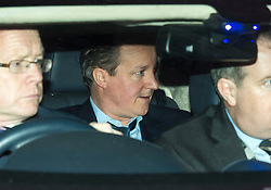 © Licensed to London News Pictures. 08/02/2016. London, UK. DAVID CAMERON leaves the The Brewery in London after the annual Conservative Party Black & White Ball, a Conservative Party fundraiser.  Photo credit: Ben Cawthra/LNP