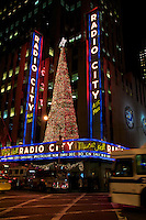 Radio City Music Hall in New York at Christmas Time, the Christmas Spectacular its a tourist attraction. New york, November 2008.