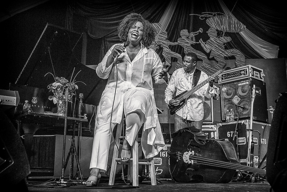 Dianne Reeves performs on the WWOZ Tent Stage during the 2013 New Orleans Jazz & Heritage Music Festival at Fair Grounds Race Course on April 28, 2013 in New Orleans, Louisiana. USA.