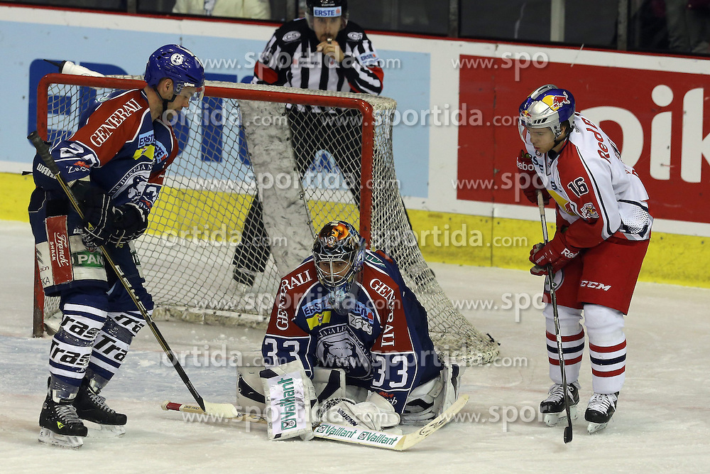 24.02.2013, Dom Sportova, Zagreb, CRO, EBEL, KHL Medvescak Zagreb vs EC Red Bull Salzburg, Playoff best of seven, 1. Runde, im Bild. Robert Kristan, Ryan Duncan // during the Erste Bank Icehockey League playoff best of seven 1st round match between KHL Medvescak Zagreb and EC Red Bull Salzburg at the Dom Sportova, Zagreb, Croatia on 2013/02/24. EXPA Pictures © 2013, PhotoCredit: EXPA/ Pixsell/ Dalibor Urukalovic..***** ATTENTION - for AUT, SLO, SUI, ITA, FRA only *****