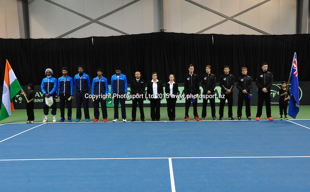 Team line up during the Davis Cup Tennis match, New Zealand v India, at The Z Energy Wilding Park Tennis Centre, Christchurch, New Zealand on the 17 July 2015. Copyright Photo: John Davidson / www.photosport.nz