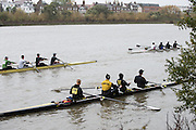 Hammersmith, Greater Game, London, UK. Crews make their way to the start. 2015 Fours Head of the River Race, River Thames [ opposite Chiswick Eyot]  Saturday  07/11/2015 <br /> <br /> [Mandatory Credit: Peter SPURRIER: Intersport Images]