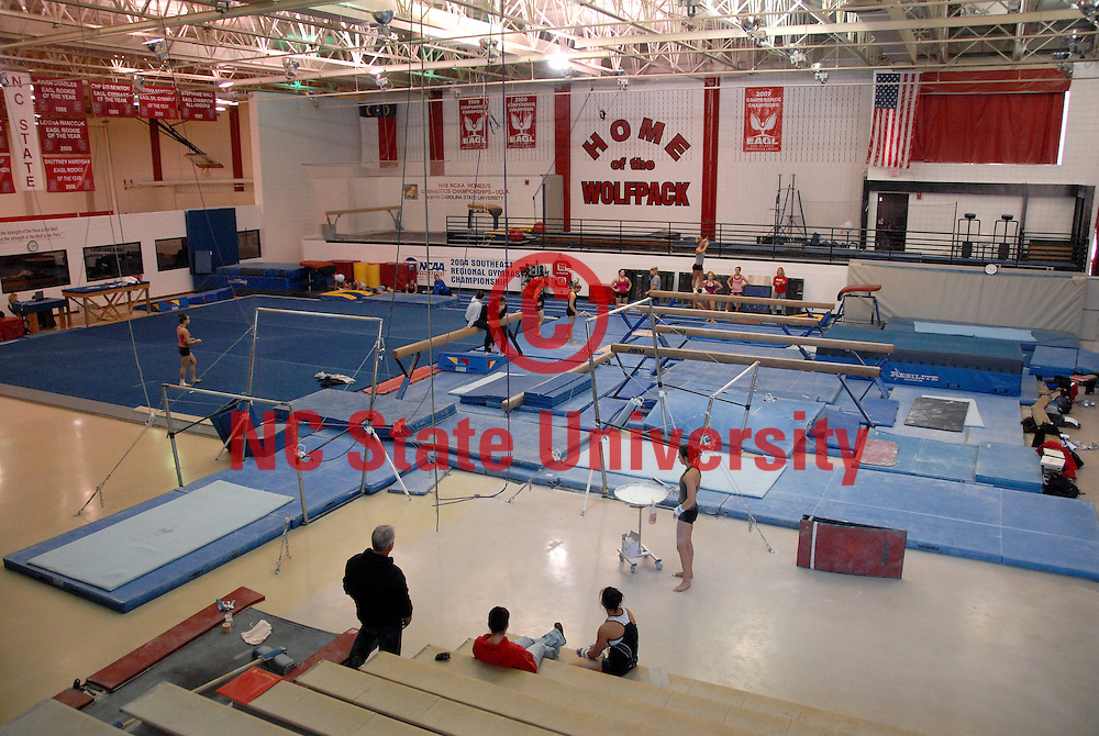Gymnastics practice area in Carmichael Gym. PHOTO BY ROGER WINSTEAD