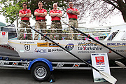 The Row 4 Victory Team (left to right) Will Quarmby (skipper), Duncan Roy, Glyn Sadler and Fraser Mowlem with their boat Taliskerat York Racecourse, York, United Kingdom on 13 July 2018. Picture by Mick Atkins.