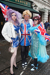 © Licensed to London News Pictures. 03/06/2012. London, UK. Jubilee Drag Queens join into the celebrations. The Royal Jubilee celebrations. Great Britain is celebrating the 60th  anniversary of the country's Monarch HRH Queen Elizabeth II accession to the throne this weekend Photo credit : Bettina Strenske/LNP
