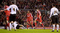 LIVERPOOL, ENGLAND - Tuesday, January 15, 2008: Liverpool's captain Steven Gerrard MBE scores his hat-trick goal to seal a 5-0 victory over Luton Town during the FA Cup 3rd Round Replay at Anfield. (Photo by David Rawcliffe/Propaganda)
