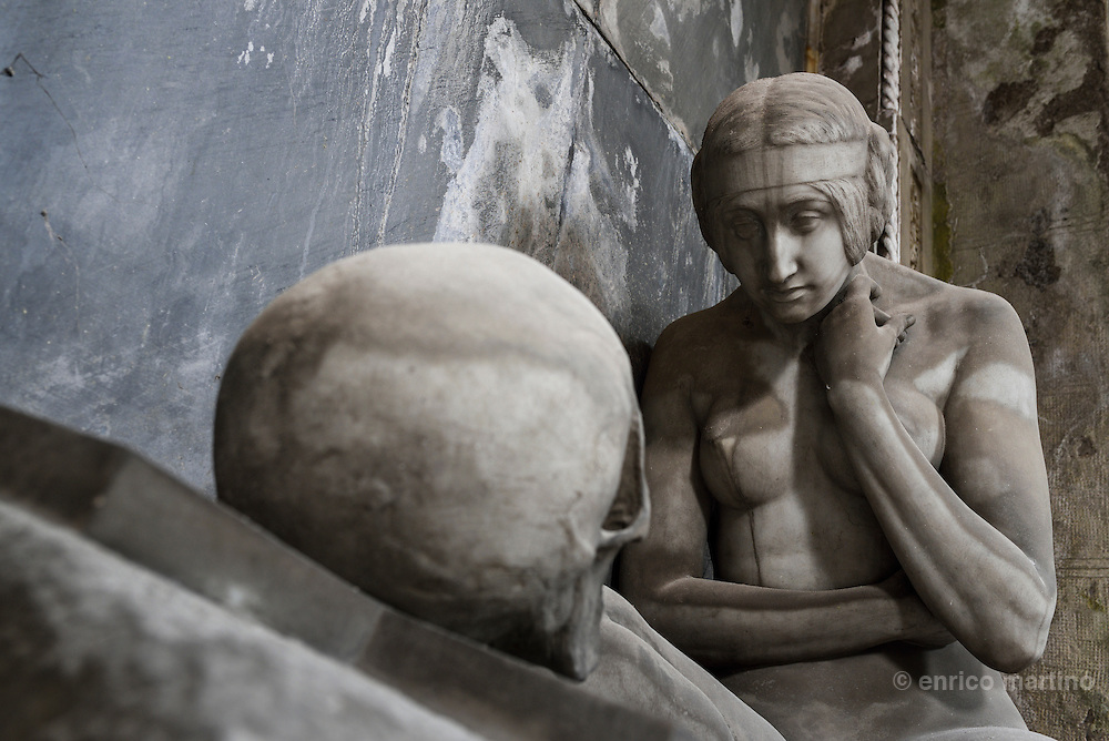 Genoa.  The Cimitero monumentale di Staglieno is famous for its monumental sculpture. Tomba G.B. e Rosa Cavallo Lavarello by Demetrio Paernio 1914. Covering an area of more than a square kilometre, it is one of the largest cemeteries in Europe.