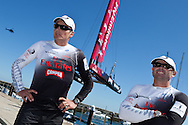 PORTUGAL, Cascais. 7th August 2011. America's Cup World Series. Day 2.  Dean Barker (left), and James Dagg, EMIRATES TEAM NEW ZEALAND.