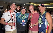 Sir Peter Leitch, 2nd left, and Dick Smith, right, entertain guests, Corporate Entertainment, Auckland Nines, Eden Park, Auckland, New Zeaaland, Saturday, January 31, 2015. Copyright Photo: David Rowland/www.photosport.co.nz