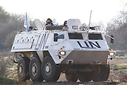 Israel, Golan Heights, A U.N. armored vehicle on the Israeli-Syrian border