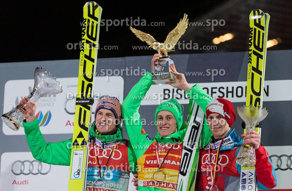 06.01.2016, Paul Ausserleitner Schanze, Bischofshofen, AUT, FIS Weltcup Ski Sprung, Vierschanzentournee, Bischofshofen, Siegerehrung Gesamtwertung, im Bild Podium Gesamtsieg v.l.: Severin Freund (GER, 2. Platz), Peter Prevc (SLO, Gesamtsieger) mit der Trophäe und Michael Hayboeck (AUT, 3. Platz) // f.l.: 2nd placed Severin Freund of Germany Winner Peter Prevc of Slovenia and 3rd placed Michael Hayboeck of Austria celebrates on overall podium of the Four Hills Tournament of FIS Ski Jumping World Cup at the Paul Ausserleitner Schanze in Bischofshofen, Austria on 2016/01/06. EXPA Pictures © 2016, PhotoCredit: EXPA/ JFK