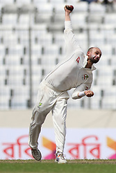 August 29, 2017 - Mirpur, Dhaka, Bangladesh - Australian Bowler Lyon delivering a bowl during the third day of the first Test cricket match between Bangladesh and Australia at the Sher-e-Bangla National Cricket Stadium in Dhaka on August 29, 2017. (Credit Image: © Ahmed Salahuddin/NurPhoto via ZUMA Press)