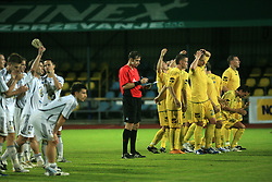 Players of Interblock and Domzale during penalty shots at Slovenian Supercup between NK Domzale and NK Interblock, on July 9, 2008, in Domzale. Interblock won the mach and Supercup by 7 : 6 after penalty shots. (Photo by Vid Ponikvar / Sportal Images)