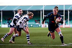 Carys Cox of Worcester Warriors Women takes on Becky Hughes of Bristol Bears Women - Mandatory by-line: Robbie Stephenson/JMP - 01/12/2019 - RUGBY - Sixways Stadium - Worcester, England - Worcester Warriors Women v Bristol Bears Women - Tyrrells Premier 15s
