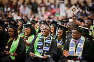 Graduates are seated for the 92nd and final Commencement Exercises on Saturday, April 28, 2018, in the Julius and Mary Jenkins Center at Concordia College Alabama in Selma, Ala. LCMS Communications/Erik M. Lunsford