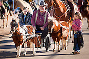28 JANUARY 2012 - BUCKEYE, AZ:   Participants in the Buckeye Days parade ride a pony cart through Buckeye, AZ. The Buckeye Days parade went through downtown Buckeye, an agricultural community about 45 miles west of Phoenix. The parade was one the first events to mark Arizona's centennial celebration. Arizona was admitted to the United States on Feb 14, 1912, making it the 48th state in the union. The state celebrates its 100th birthday with a series of events on Feb. 14, 2012.    PHOTO BY JACK KURTZ