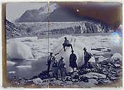 early 1900s tourism on ice glacier, at Sea of Ice Chamonix Mont Blanc