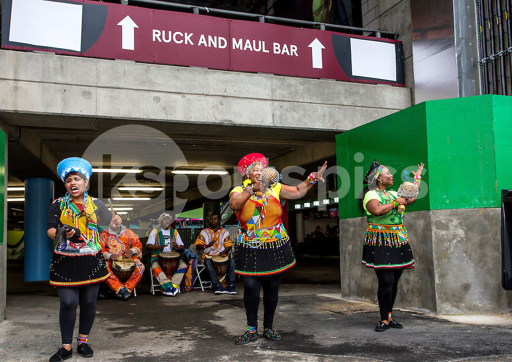 South African entertainment prior to the Rugby World Cup Semi Final match between South Africa and New Zealand played at Twickenham Stadium, London on the 24th of October 2015. Photo by Liam McAvoy