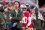 San Francisco 49ers head coach Kyle Shanahan watches as his San Francisco 49ers host the New York Giants at Levi's Stadium in Santa Clara, Calif., on November 12, 2017. (Stan Olszewski/Special to S.F. Examiner)