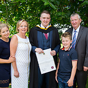 "25.08.2016          <br />  Faculty of Business, Kemmy Business School graduations at the University of Limerick today. <br /> <br /> Attending the conferring was BBs graduate, David Clifford with his family, left to right, Aoife, Kay, Conor and John Clifford., Foynes CO. Limerick. Picture: Alan Place.<br /> <br /> <br /> As the University of Limerick commences four days of conferring ceremonies which will see 2568 students graduate, including 50 PhD graduates, UL President, Professor Don Barry highlighted the continued demand for UL graduates by employers; ""Traditionally UL's Graduate Employment figures trend well above the national average. Despite the challenging environment, UL's graduate employment rate for 2015 primary degree-holders is now 14% higher than the HEA's most recently-available national average figure which is 58% for 2014"". The survey of UL's 2015 graduates showed that 92% are either employed or pursuing further study."" Picture: Alan Place"