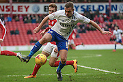 Tom Pope (Bury)controls the ball during the Sky Bet League 1 match between Barnsley and Bury at Oakwell, Barnsley, England on 7 February 2016. Photo by Mark Doherty.