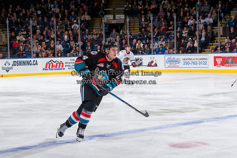 KELOWNA, CANADA - OCTOBER 20: Kyle Topping #24 of the Kelowna Rockets skates over the blue line against the Portland Winterhawks  on October 20, 2017 at Prospera Place in Kelowna, British Columbia, Canada.  (Photo by Marissa Baecker/Shoot the Breeze)  *** Local Caption ***