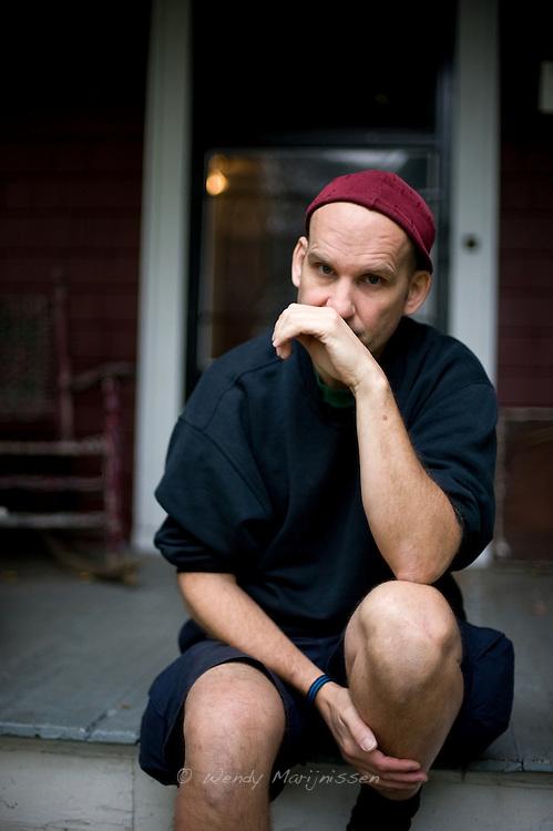 Ian MacKaye from Fugazi and The Evens outside Dischord house, Arlington Virginia, USA