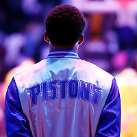 10 March 2015: Detroit Pistons guard Spencer Dinwiddie (8) stands during the national anthem prior to the Los Angeles Lakers 93-85 victory over the Detroit Pistons, at the Staples Center, Los Angeles, California, USA.