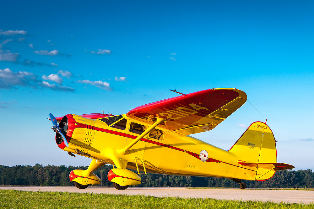 "This ""Gull Wing"" SR-10 Stinson was flown by JImmy Doolittle for two years just prior to WWII, when he worked for Shell Oil.  Created by aviation photographer John Slemp of Aerographs Aviation Photography. Clients include Goodyear Aviation Tires, Phillips 66 Aviation Fuels, Smithsonian Air & Space magazine, and The Lindbergh Foundation.  Specialising in high end commercial aviation photography and the supply of aviation stock photography for commercial and marketing use."