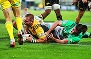 Hurricanes' Brad Shields dives in to score during the Round 14 Super Rugby match, Hurricanes v Highlanders at Westpac Stadium, Wellington. 27th May 2016. Copyright Photo.: Grant Down / www.photosport.nz