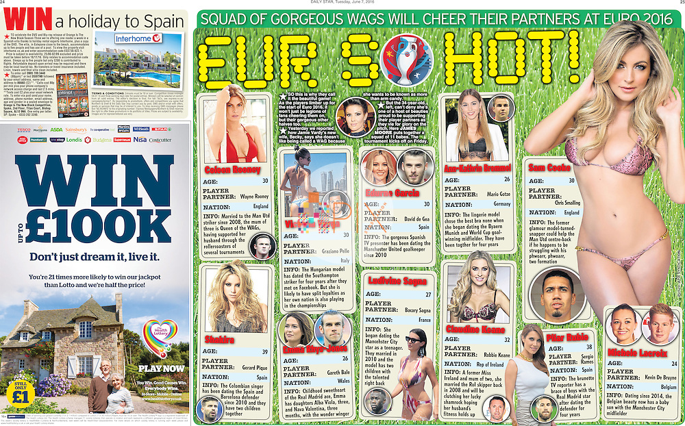 Manchester United player Chris Smalling's girlfriend Sam Cooke heads up a feature on Euro 2016 WAGs in the Daily Star newspaper, UK on 7 June 2016<br />