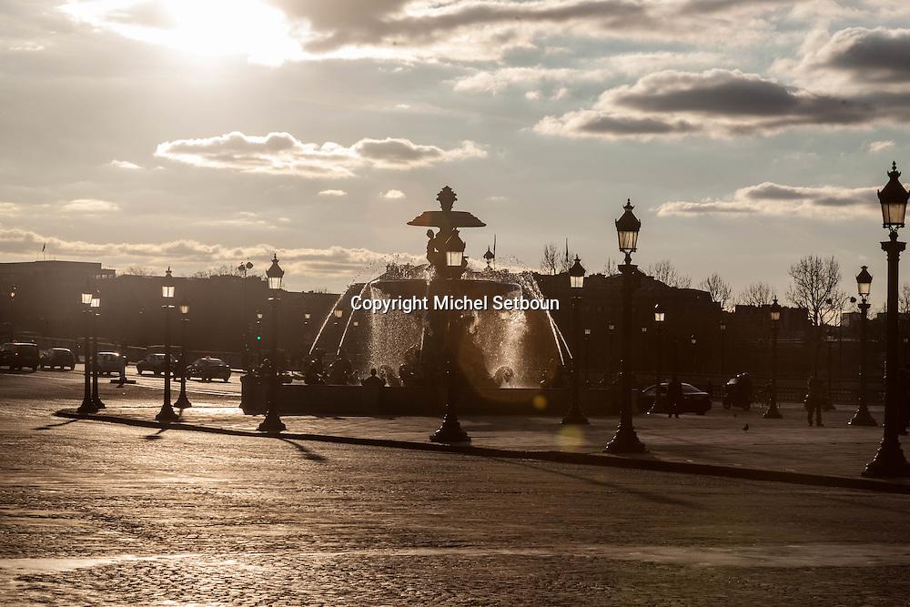 France. Paris. 8th district. Place de la Concorde, Fountain/ Fontaine de la place de la Concorde