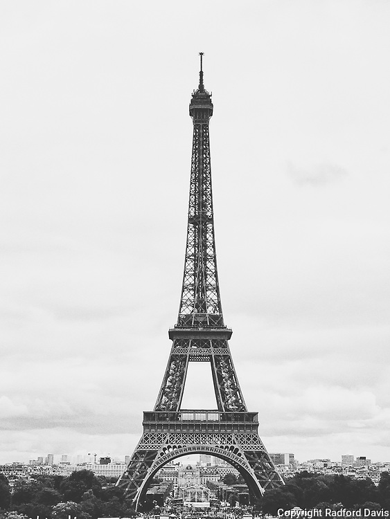 Eiffel Tower in black and white, Paris, France.