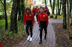 CARDIFF, WALES - Sunday, October 13, 2019: Wales' Ethan Ampadu (L) and Tyler Roberts during a pre-match team walk at the Vale Resort ahead of the UEFA Euro 2020 Qualifying Group E match between Wales and Croatia. (Pic by David Rawcliffe/Propaganda)