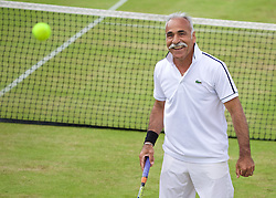 LIVERPOOL, ENGLAND - Sunday, June 21, 2015: Mansour Bahrami (IRN) during Day 4 of the Liverpool Hope University International Tennis Tournament at Liverpool Cricket Club. (Pic by David Rawcliffe/Propaganda)