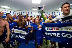 Free to use courtesy of Sky Bet, Brighton & Hove Albion players celebrate going up - Mandatory by-line: Jason Brown/JMP - 17/04/2017 - FOOTBALL - Amex Stadium - Brighton, England - Brighton and Hove Albion v Wigan Athletic - Sky Bet Championship