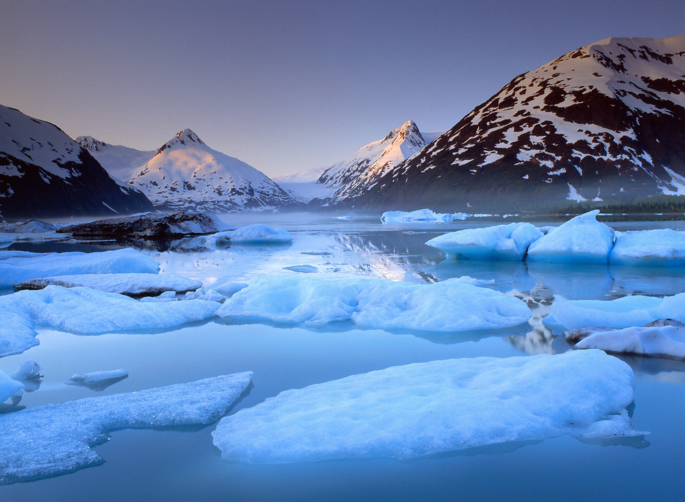 Icebergs calved from Portage Glacier in Portage Lake, at sunrise.