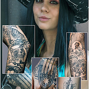 Storm Ritter's sleeve tattoos on her inside arm .<br />  <br /> Tattoos are no longer just a male thing, young women are just as likely to get a tattoo as males. <br /> <br /> Body art or tattoos has entered the mainstream it is no longer considered a weird kind of subculture.<br /> <br /> &quot;According to a 2006 Pew survey, 40% of Americans between the ages of 26 and 40 have been tattooed&quot;.