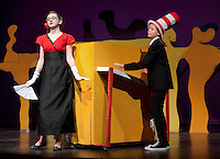 "Catherine McLaughlin as ""The Cat in the Hat"" with Kayla Zarella as ""Mayzie la Bird"" during final dress rehearsal for ""Seussical"" beginning Thursday evening through Saturday at the GHS auditorium at 7pm with an additional matinee Saturday at 2pm.  (Karen Bobotas/for the Laconia Daily Sun)"