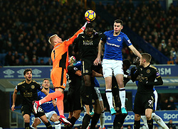 Kasper Schmeichel of Leicester City punches the ball clear - Mandatory by-line: Robbie Stephenson/JMP - 31/01/2018 - FOOTBALL - Goodison Park - Liverpool, England - Everton v Leicester City - Premier League