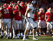 Noah Cheshier (86) of the Abilene Christian Wildcats walks off the field after De'Vante Bausby (14) of the Pittsburg Gorillas intercepted a pass during Saturday's college football game at Carnie Smith Stadium on October 5, 2013 in Pittsburg, Kansas. (David Welker)