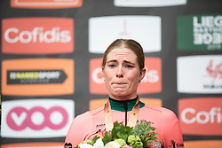 Demi Vollering (NED) of Parkhotel Valkenburg - Destil Cycling Team celebrates finishing in third place in the Liege-Bastogne-Liege Femmes - a 138.5 km road race, between Bastogne and Liege on April 28, 2019, in Wallonie, Belgium. (Photo by Balint Hamvas/Velofocus.com)