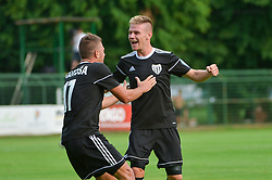 Luka Bobicanec of NS Mura and Amadej Marosa of NS Mura celebrates during football match between NS Mura and NK Triglav Kranj in 1st Round of Prva liga Telekom Slovenije 2018/19, on July 21, 2018 in Mestni stadion Fazanerija, Murska Sobota , Slovenia. Photo by Mario Horvat / Sportida