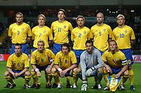 Fotball<br /> Treningskamp<br /> Portugal v Sverige<br /> 28. april 2004<br /> Foto: Digitalsport<br /> NORWAY ONLY<br /> <br /> SWEDISH TEAM (BACK ROW LEFT TO RIGHT : OLOF MELLBERG / ANDREAS JOHANSSON / ZLATAN IBRAHIMOVIC / ERIK WAHLSTEDT / TEDDY LUCIC / MARCUS ALLBACK . FRONT ROW : TOBIAS LINDEROTH / CHRISTIAN WILHELMSSON / KIM KALLSTROM / ANDREAS ISAKSSON / JOHAN MJALLBY )