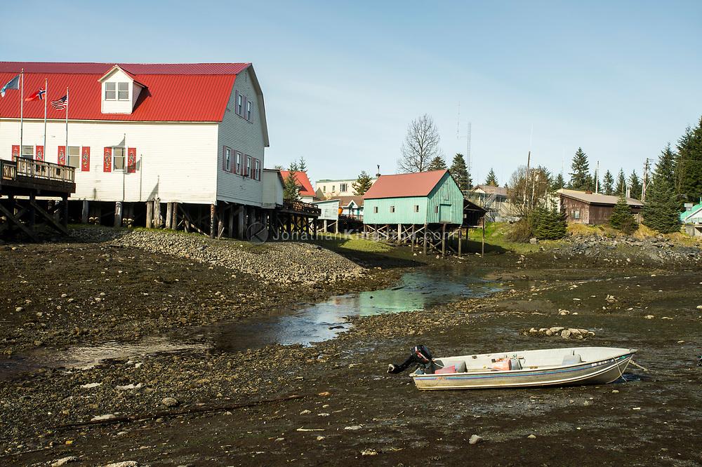 Houses built on stilts over water in Petersburg, Alaska.