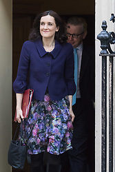 Downing Street, London, February 23rd 2016. Northern Ireland Secretary Theresa Villiers is followed by Justice Secretary Michael Gove as they leave the weekly cabinet meeting.  ©Paul Davey<br /> FOR LICENCING CONTACT: Paul Davey +44 (0) 7966 016 296 paul@pauldaveycreative.co.uk