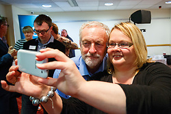 © Licensed to London News Pictures. 25/08/2015. Stevenage, UK. Labour Party leader candidate Jeremy Corbyn meeting his supporters at a husting for Radio 5 at Stevenage Arts & Leisure Centre in Stevenage on Tuesday, 25 August 2015. Photo credit: Tolga Akmen/LNP