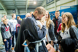 Blaz Rola of Slovenia with fans after winning during Davis Cup Slovenia vs Lithuania competition, on October 30, 2015 in Kranj, Slovenia. Photo by Vid Ponikvar / Sportida