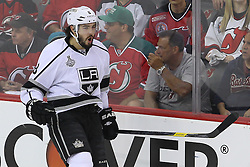 June 2; Newark, NJ, USA; Los Angeles Kings defenseman Drew Doughty (8) celebrates his goal during the first period of the 2012 Stanley Cup Finals Game 2 at the Prudential Center.