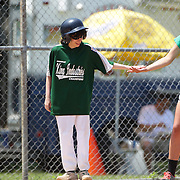 A batter is congratulated after a hit during the Norwalk Little League baseball 'Champions' team V Greenwich in the Challenger Division  Recognition Day competition. The day acknowledged the many talents of the great players on the Challenger Division teams. The division has weekly games and practices for kids with special needs. Challenger division are held throughout the country.  Broad River Fields, Norwalk, Connecticut. USA. 2nd June 2013. Photo Tim Clayton
